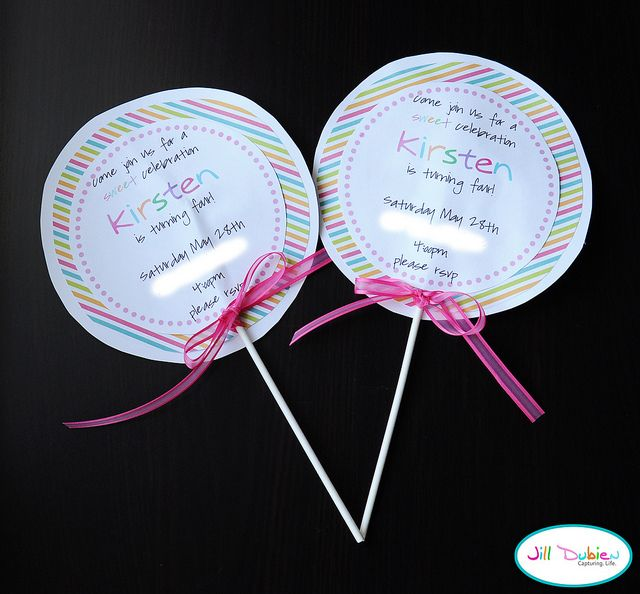 The invite lollipop party candy party and birthdays this would be great for sydneys birthday party one year filmwisefo