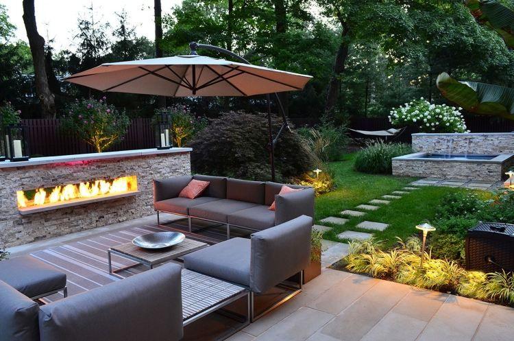 Marvelous stilvolle Gartenm bel und offener Kamin f r tolle Outdoor Atmosph re