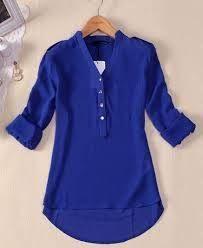 Resultado de imagen para blusa social feminina manga 3 4  2a83c8b08f725