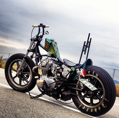 custom japanese motorcycle.   Oh my. poor choice on the bars and tank.Otherwise the Lesters look great.