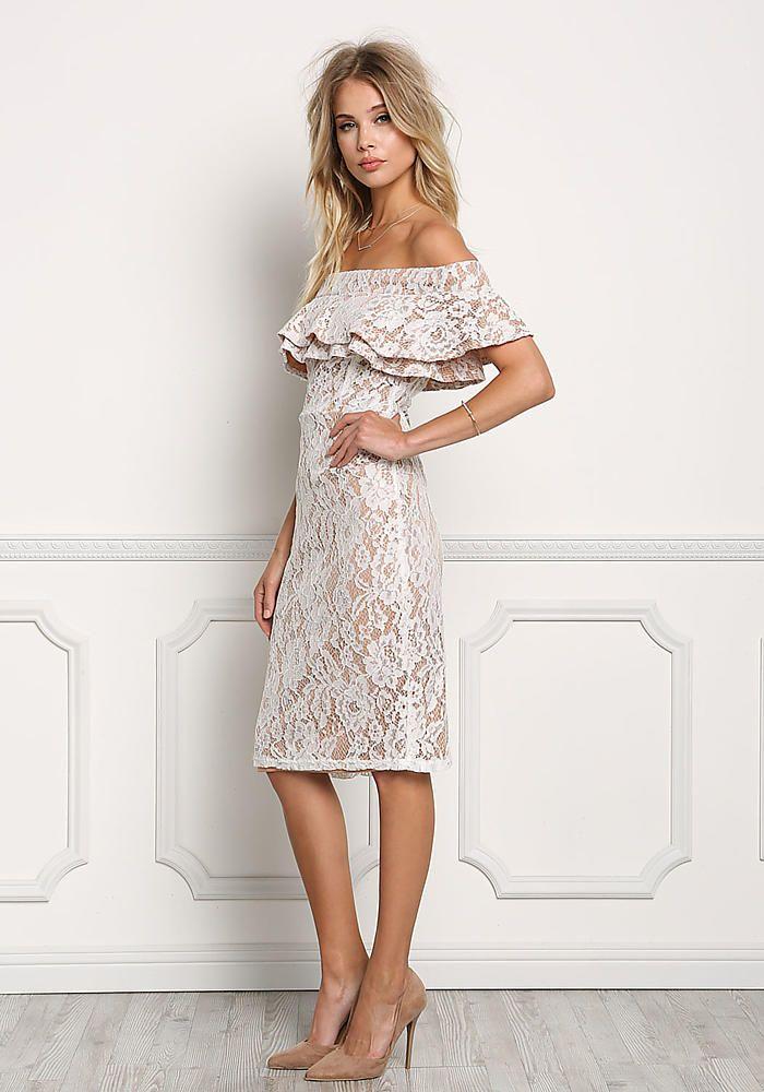 f8a49cef077d Off White Off Shoulder Floral Lace Bodyon Dress - Going Out - Dresses