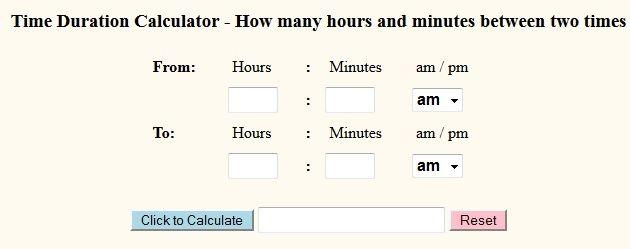Time duration calculator Online Calculators Pinterest Calculator
