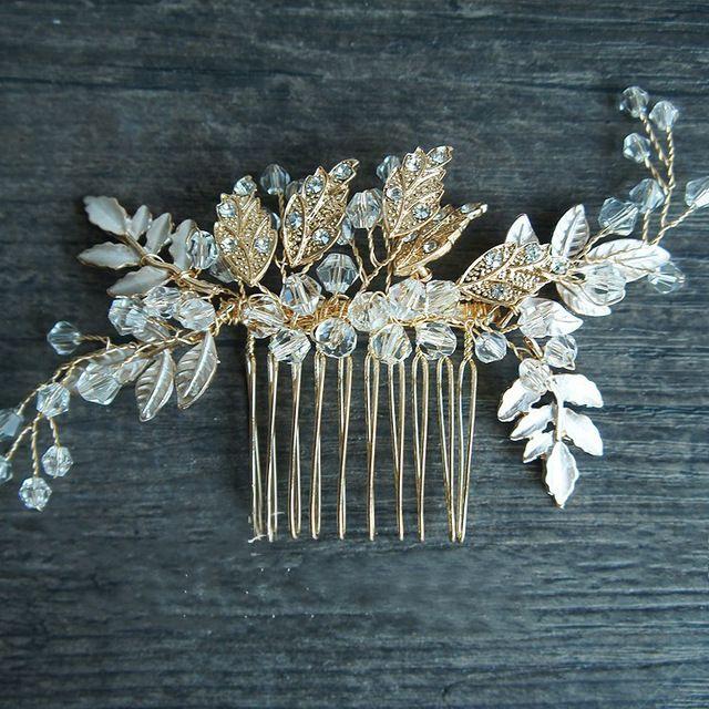 Handmade Vintage Bridal Gold Leaf Hair Comb Wedding Accessories Rhineston Floral Bridal Hair Accessories Bridal Accessories Headpieces Bridal Headpiece Vintage