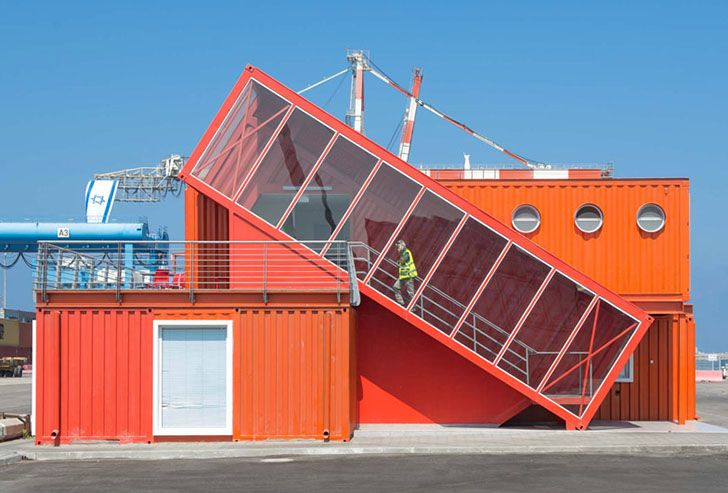 7 bright red shipping containers repurposed as modern offices in israel prefab office green - Container home architects ...