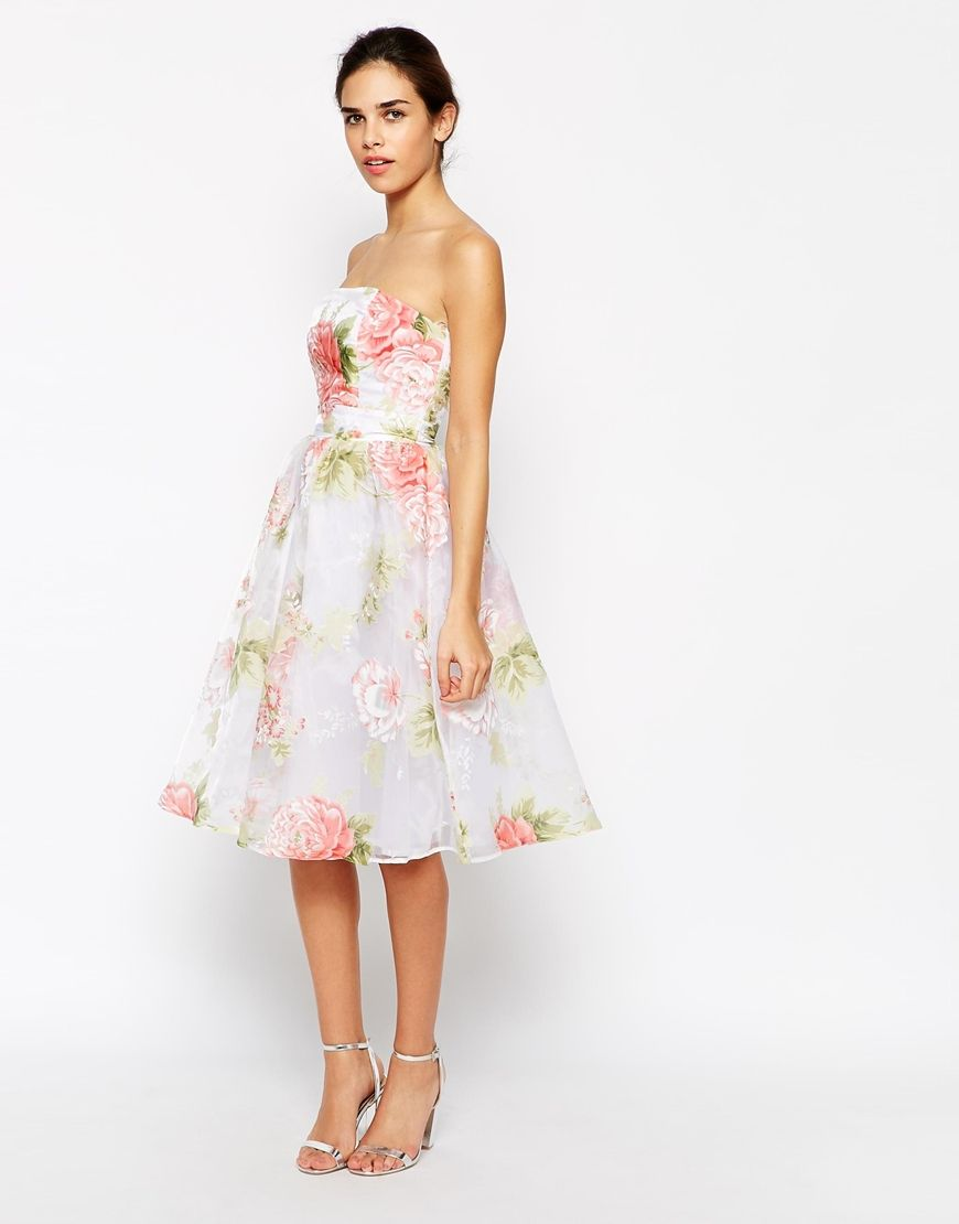Elise ryan bandeau midi prom dress in organza floral print when im