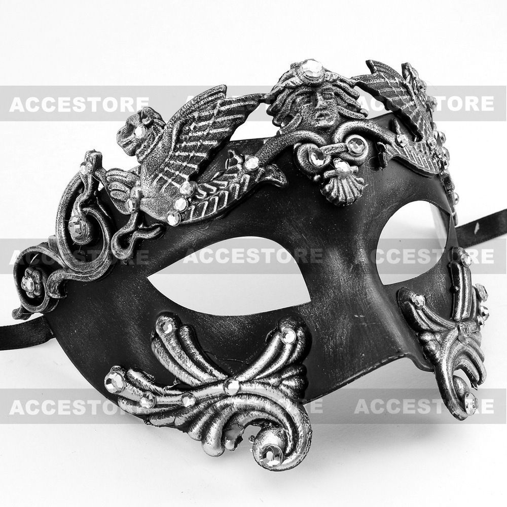 Black/Silver Roman Greek Emperor Men's Masquerade Mardi Gras Venetian Mask in Clothing, Shoes & Accessories, Costumes, Reenactment, Theater, Accessories | eBay