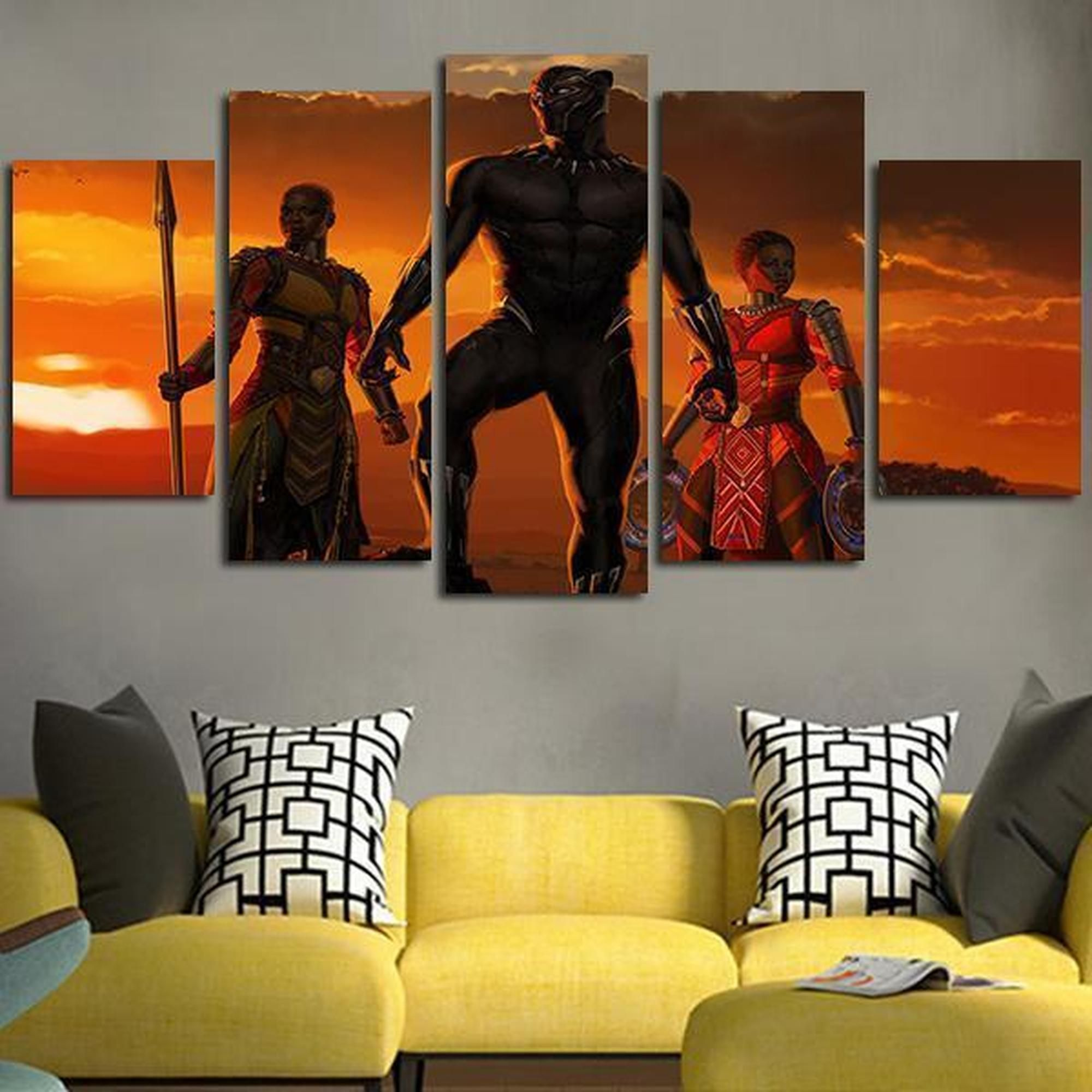 Black Panther Okoye And Nakia Movie Canvas Wall Art Superhero Wall Art Art Canvas Wall Art