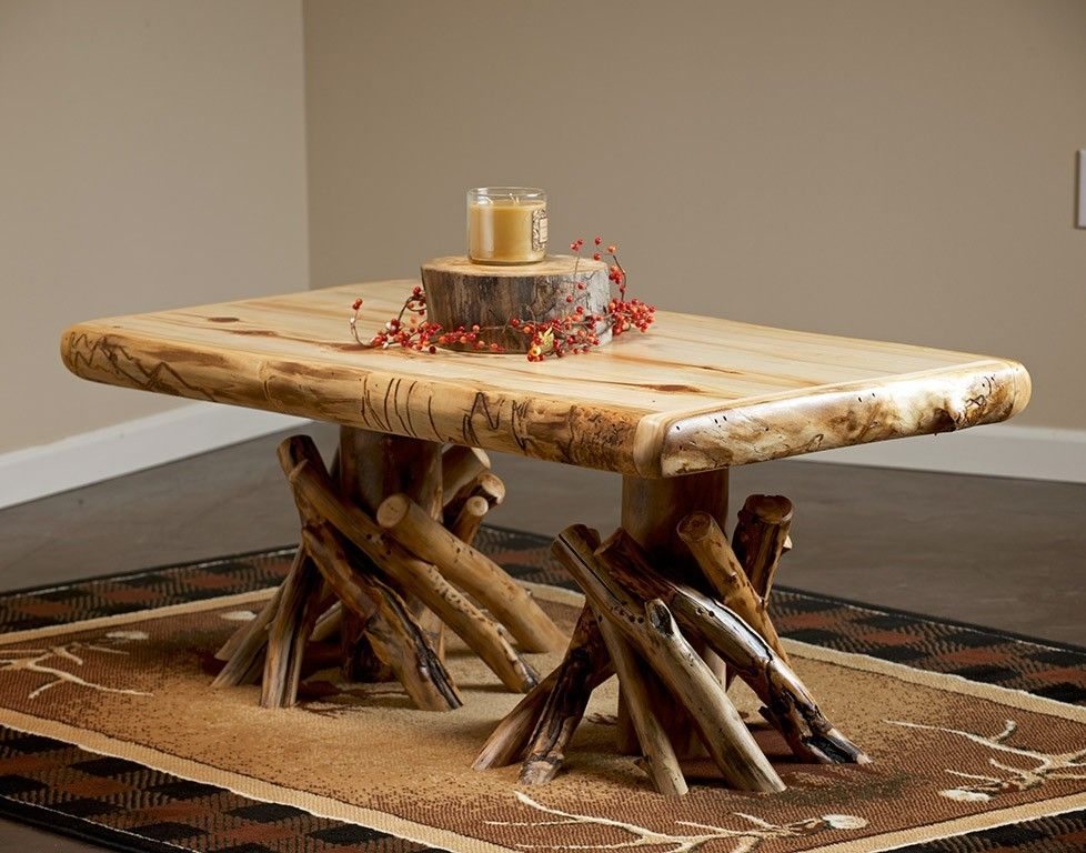 Yellowstone Rustic Aspen Log Fireside Coffee Table Log
