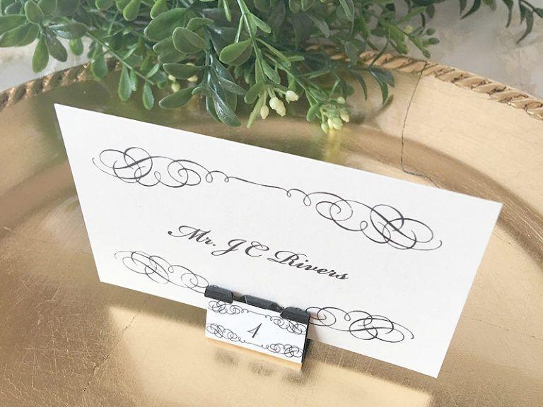 Diy elegant binder clip place cards download print wedding
