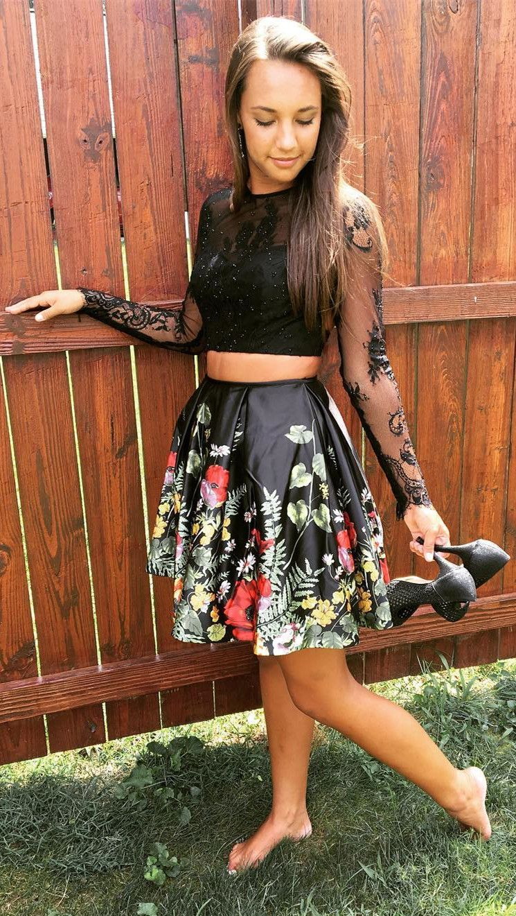 Aline black floral short homecoming dress party dress in