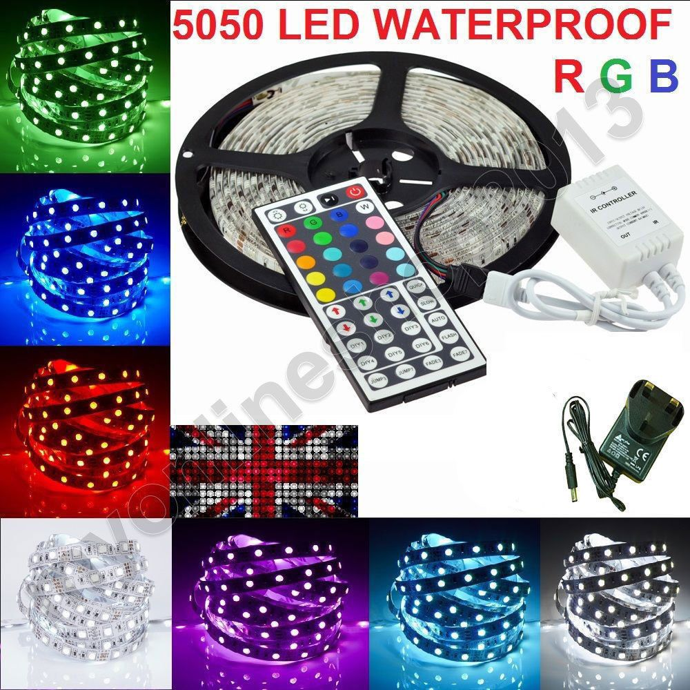 5050 3528 Rgb 5m 10m Smd 12v Led Strip Light Adapter Ir Remote Waterproof Uk 12v Led Strip Lights Led Strip Lighting Flexible Led Strip Lights
