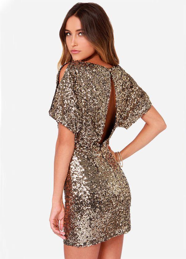 Gold Short Sleeve Split Back Sequined Dress - abaday.com 14407939dfade