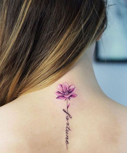 Fortune Flower Quote Tattoos On Neck For Girls