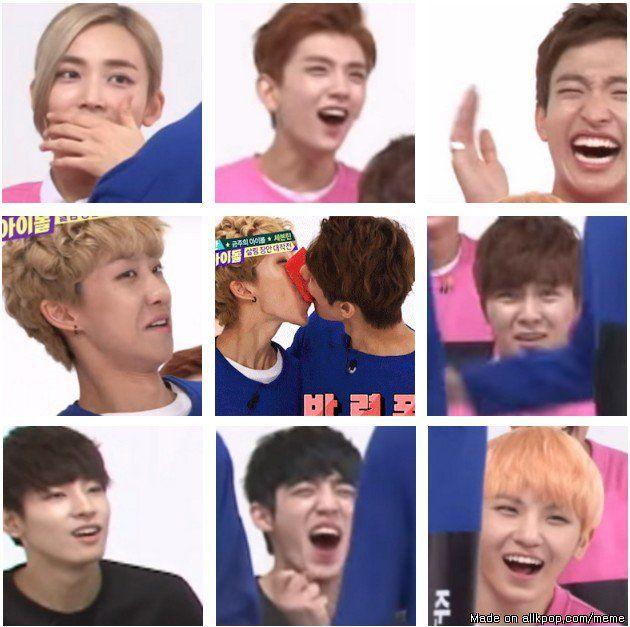 Priceless Reactions On The Paper Kissing Game Allkpop Meme Center Seventeen Kpop Seventeen Memes Seventeen
