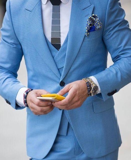 Latest Coat Pant Designs Light Blue Beach Men Suit Slim Fit Skinny 3 ...