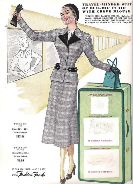 I so, so want this exact 1950s skirt suit ensemble for the next time I need to take to the skies.