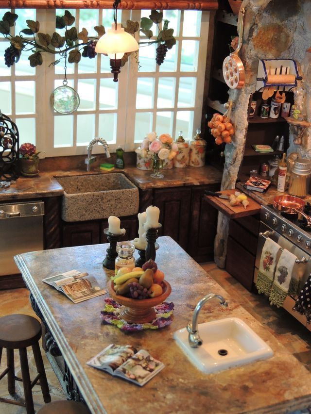Mini Kitchen, Miniature Kitchen, Miniature Dolls, Miniature Food, Miniature Houses, Tuscan Kitchens, Luxury Kitchens, Miniature Furniture, Dollhouse Furniture #miniaturekitchen