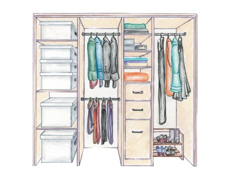 Organizing. Creating the Perfect Closet   Coats  Drawers and Shelves