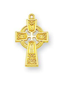 "Gold over Sterling Silver Baby Medals, Infant Toddler Jewelry, Great for Baptism or Christening. Small Celtic Cross Necklace with 13"" Chain HMH001 http://www.amazon.com/dp/B00T50DYEA/ref=cm_sw_r_pi_dp_Ga9lvb1AZDBFS"