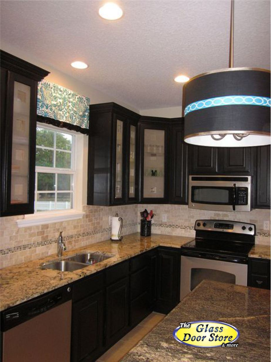 Frosted Glass In Dark Cabinets With A Square Design Etched Into The Glass Modern Geo Glass Kitchen Cabinet Doors Glass Kitchen Cabinets Large Kitchen Cabinets