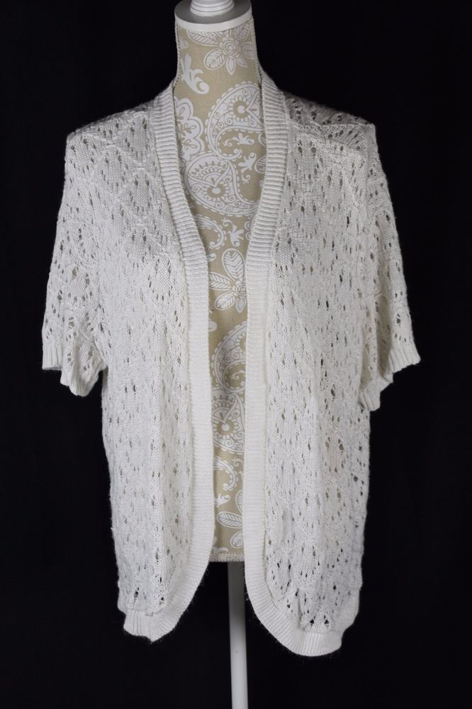 CJ Banks Womens 2X White Crochet Short Sleeve Shrug Sweater Layer ...