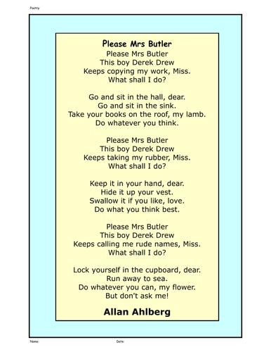 Please Mrs Butler Google Search Poems Pinterest