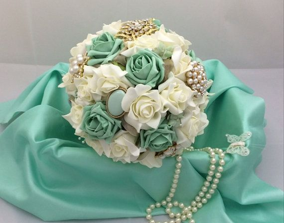 wedding bouquet shabby chic brooch and flower bouquet in mint green and ivory with silk ribbon pearls and organza made to order