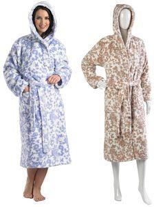 7a90fbdeae Slenderella Ladies Super Soft Floral Fleece Bath Robe Wrap Around Dressing  Gown