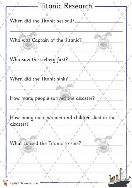 Titanic Activity Worksheets   Pet - Titanic Research - Premium ...