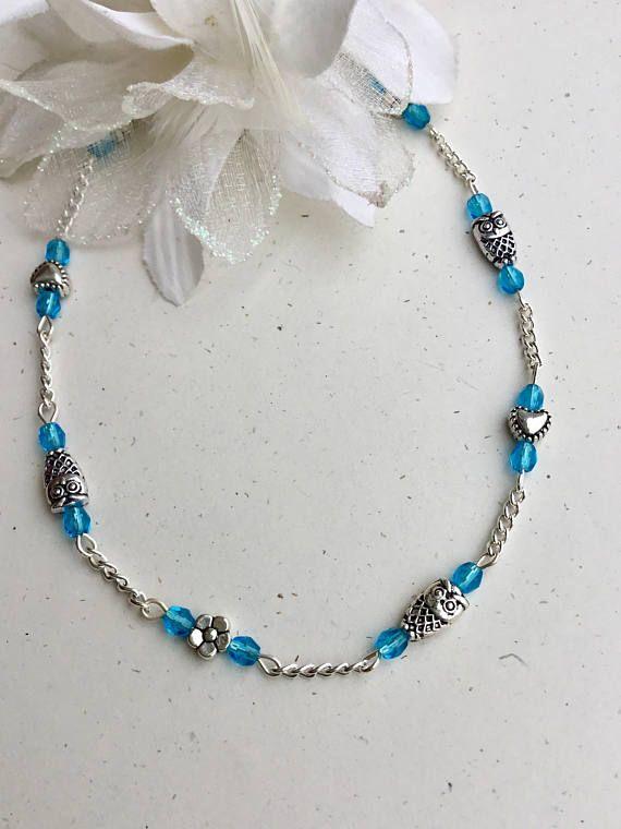 Owl Jewelry Women Ankle Bracelet Beach Anklets Blue