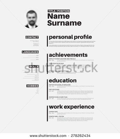 vector minimalist cv resume template with nice typogrgaphy design - Cv Design Templates Vector