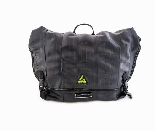 We love the Cycler Recycled Bike Tube Messenger Bag from our friends at Green Guru. We love that all their products are made in the USA from reclaimed materials even more!