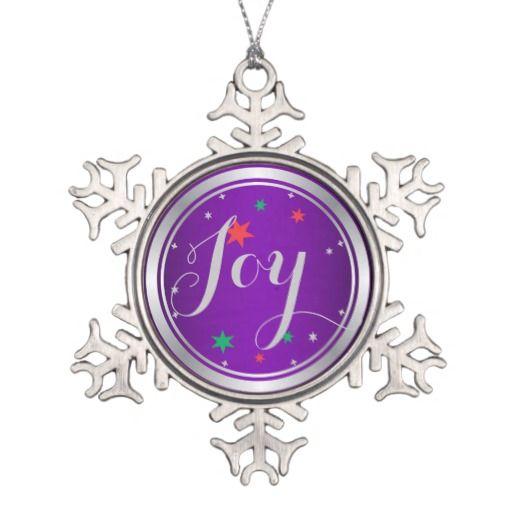 Elegant Silver Joy Christmas OrnamentPurple Snowflake Pewter