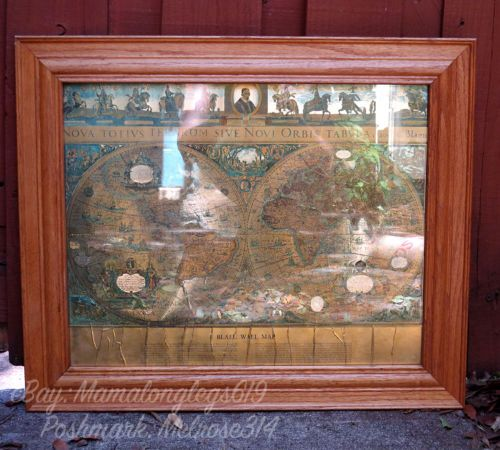 Framed wm janszon blaeu wall map old new world gold foil two framed wm janszon blaeu wall map old amp new world gold foil two hemispheres 20x25 publicscrutiny Images