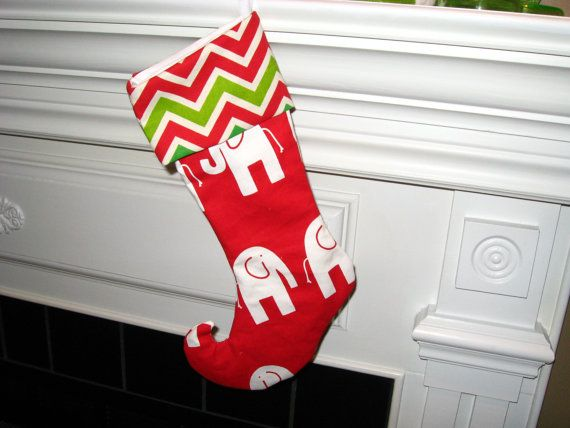 Elephant lovers Christmas stocking red Christmas by betsstuff, $25.00