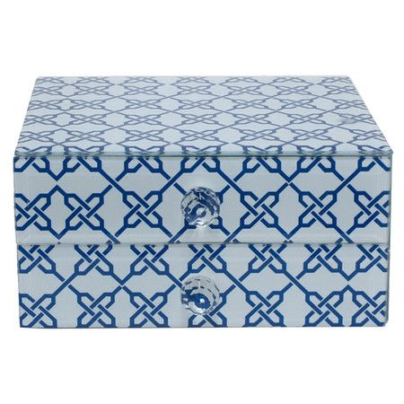 Glass box with a trellis motif and 2 drawers.  Product: BoxConstruction Material: GlassColor: Bl...