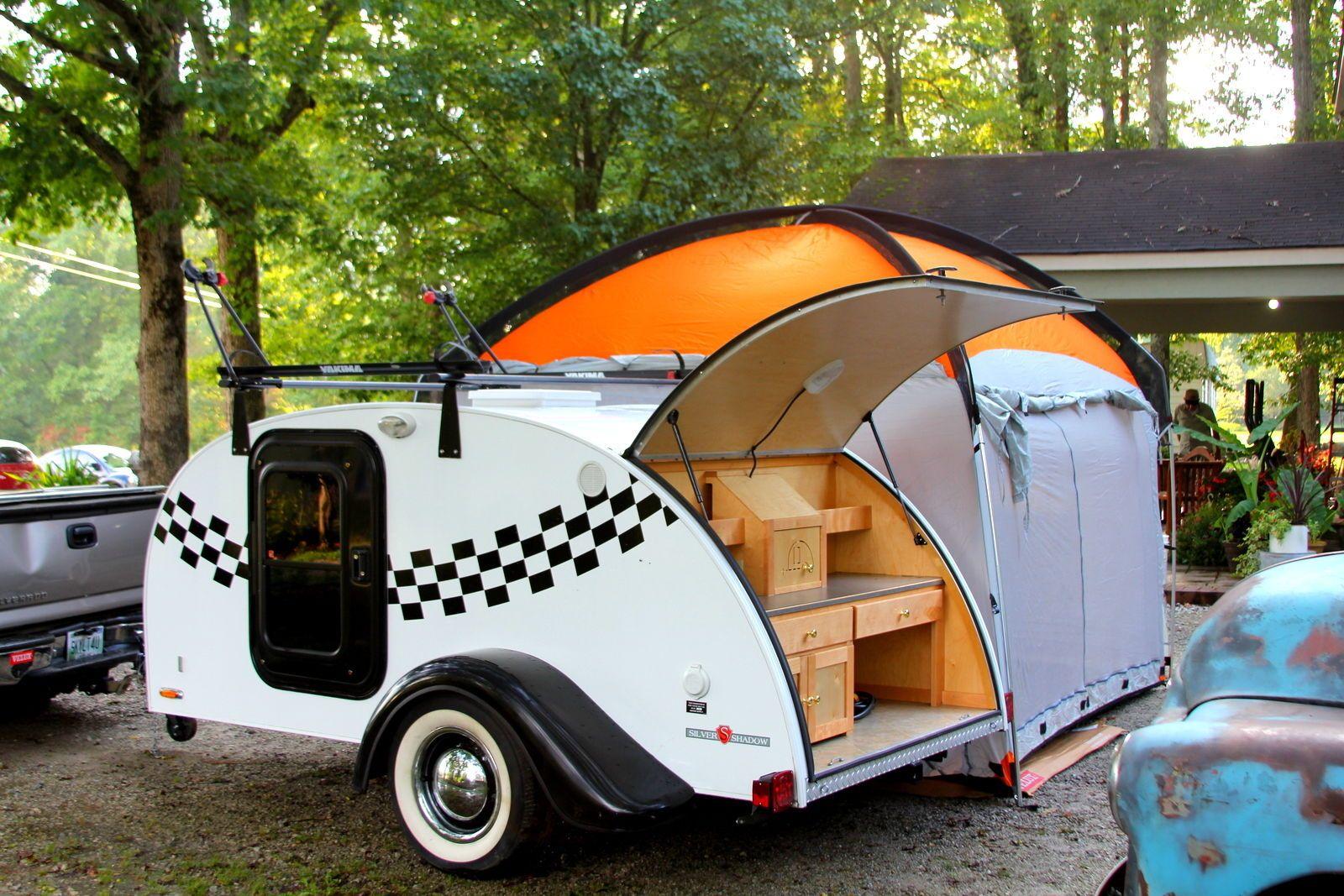 Custom Teardrop C&er Trailer With Roof u0026 Bike Racks and 10x10 attachable Tent & Custom Teardrop Camper Trailer With Roof u0026 Bike Racks and 10x10 ...