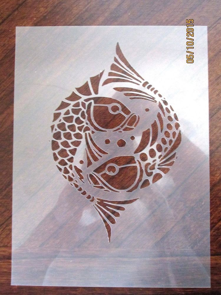 Oriental Fish Stencil for Airbrush, Crafting, Card Making, ect.