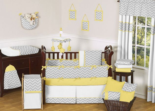 Modern Grey Yellow White Uni Baby Bedding Crib Set For Boy Room
