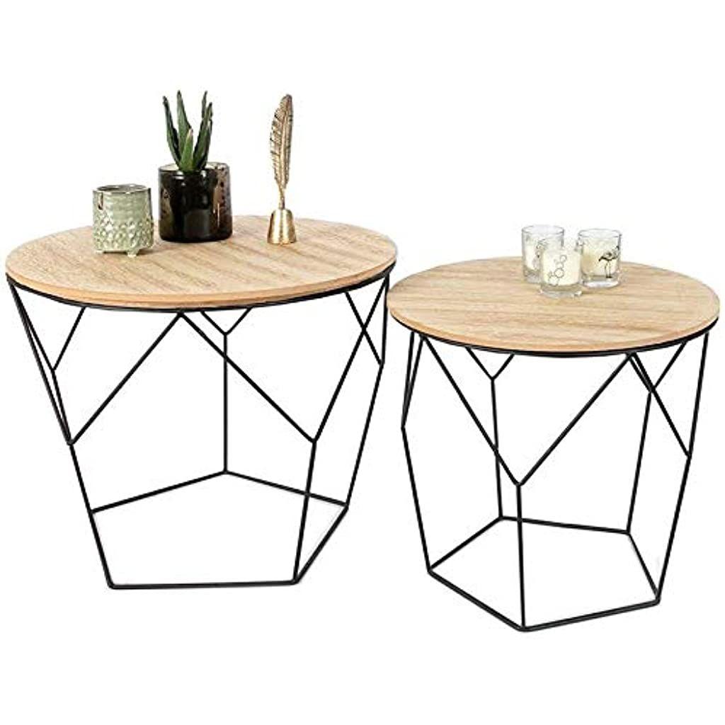 Nobrand Ensemble De 2 Tables Basses Rondes En Metal Noir Et Bois Mdf 2 Tables Dappoint Geometriques De En 2020 Table Basse Design Bois Table Basse Gigogne Table Basse