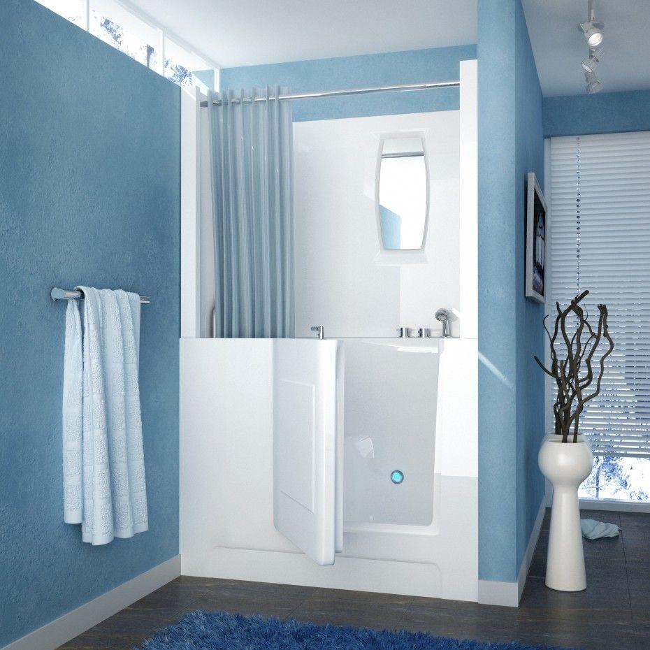 Walk In Bathtub Shower And Blue And White Bathroom Design Also ...