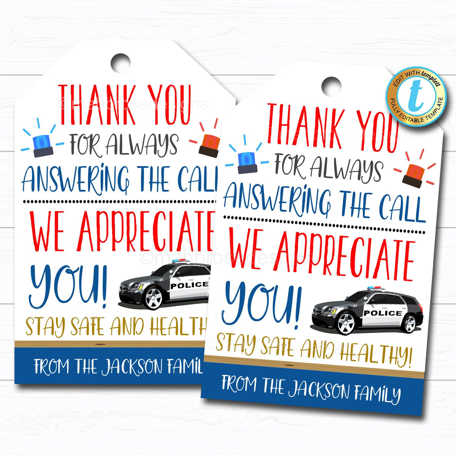 Police Appreciation Gift Tag Thank You Gift First Responder Etsy In 2020 Police Appreciation Gifts Police Appreciation Police Officer Gifts
