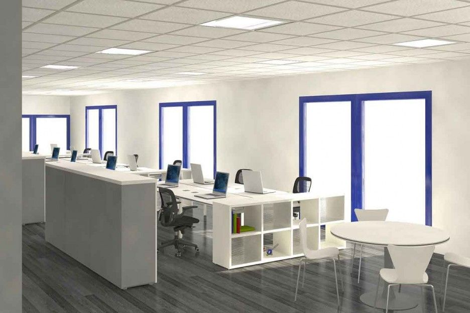 Office WorkspaceWorkspace Cool Home And Break Room Work Space Minimalist White Design Idea With Blue Windows Frame A