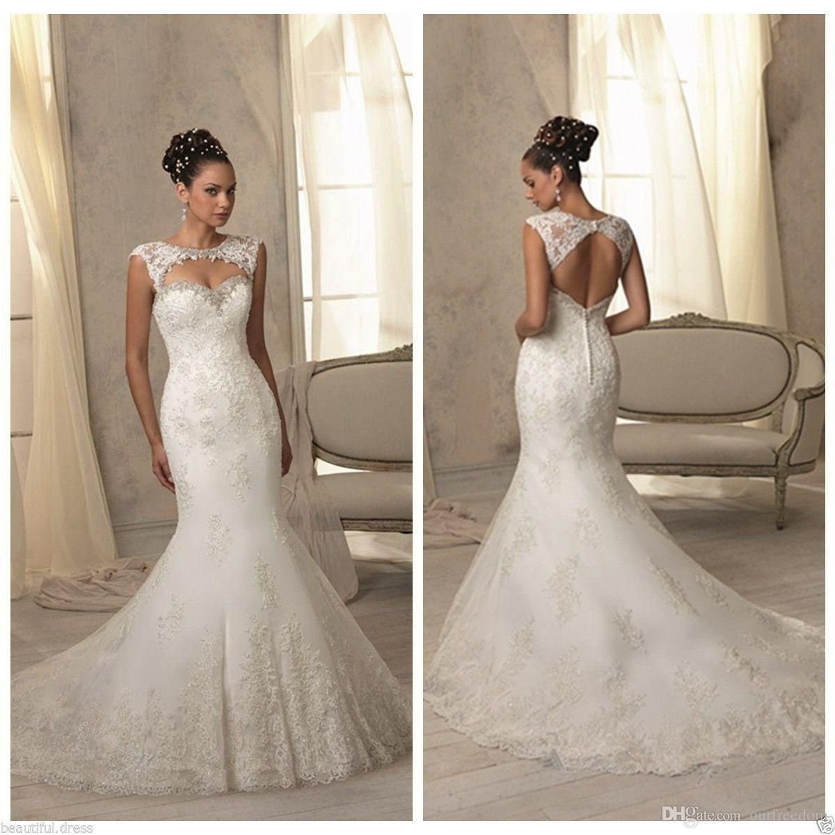 African elegant keyhole neck mermaid wedding dresses stunning