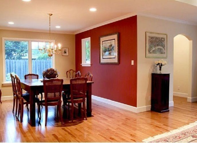 Small dining room with merlot red accent wall painting for Living room accent wall ideas