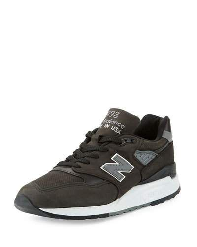 30c05575 NEW BALANCE MEN'S 998 MADE IN USA LEATHER SNEAKER, BLACK/GRAY ...