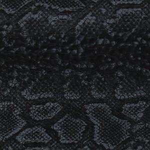 Tissu simili cuir croco avec motif serpent – Noir / Gris x50cm   – Les Nouveautés Perles & Co