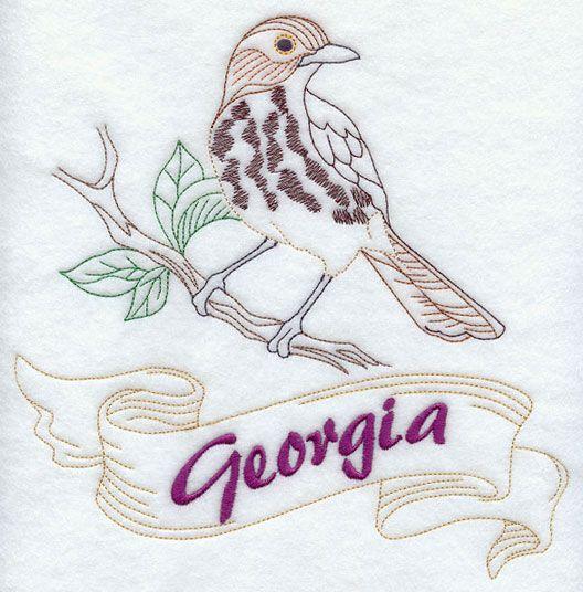 STATE BIRD-MICHIGAN-ROBIN MACHINE EMBROIDERED FLOUR SACK DISH TOWEL
