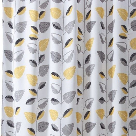Yellow And Gray Shower Curtain Bathroom