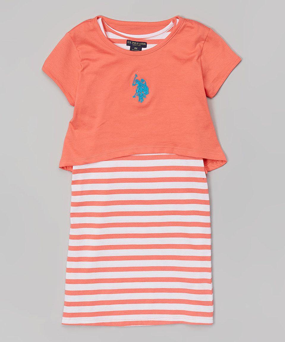 Calypso peach layered maxi dress toddler by us polo assn